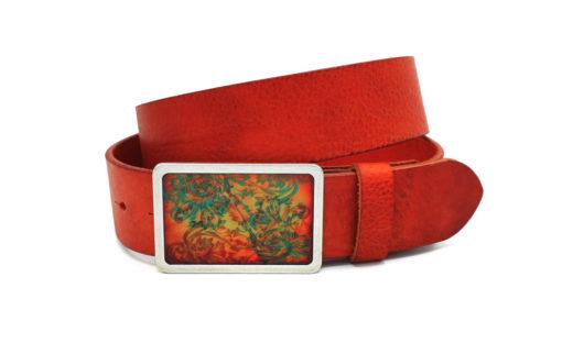 Ledergürtel 4 cm orange mit Motivschnalle