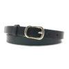 Schmaler, schwarzer Ledergürtel mit kleiner goldener Schnalle