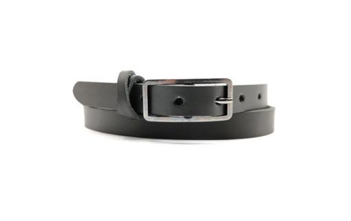 matt -schwarzer Ledergürtel 1,5 cm mit dunkler Gürtelschnalle