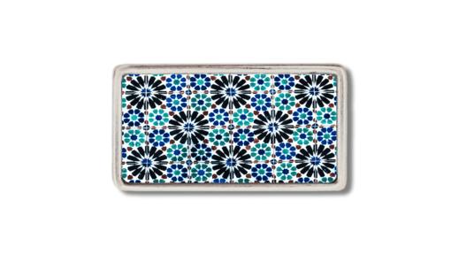 schmale Gürtelschnalle mit Fliesenmotiv , Ornament in Blau und Schwarz