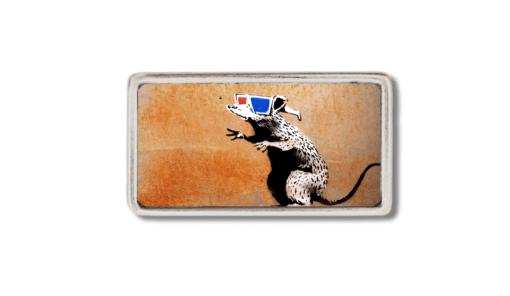 schmale Gürtelschnalle mit einer Ratte , welche eine 3d Brille trägt