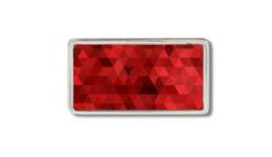 schmale Gürtelschnalle mit schwarzen Rechtecken auf rotem Grund