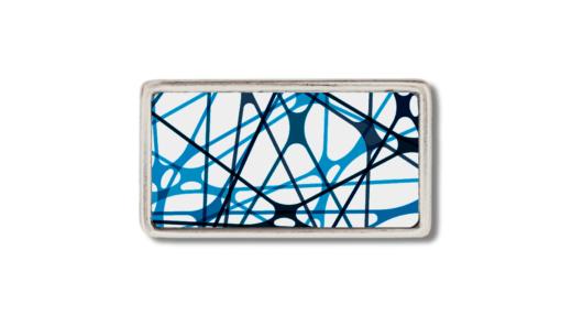 schmale Gürtelschnallen mit schwarzen und blauen Streifen
