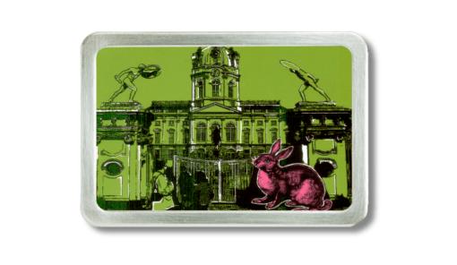 Gürtelschnalle mit dem Schlosss Charlottenburg und pink rabbit