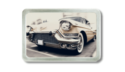 Gürtelschnalle mit weißem Cadillac