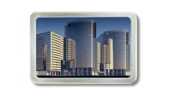 Gürtelschnalle mit Wolkenkratzern