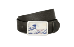 Ledergürtel anthrazit und Gürtelschnalle mit der Welle von Kanagawa
