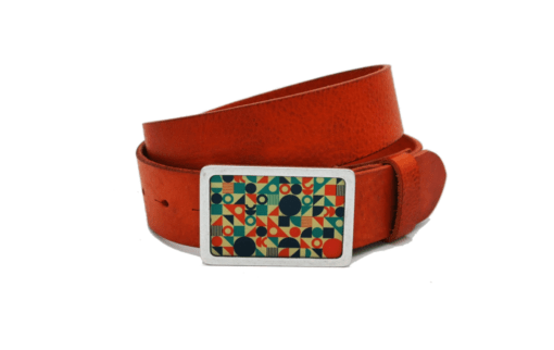 "oranger Ledergürtel mit Motivschnalle ""Blocks"""