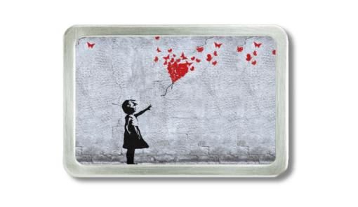 Gürtelschnalle mit Graffiti, girl with red ballon