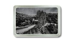 Gürtelschnalle mit Foto der Burg Eltz im Schnee
