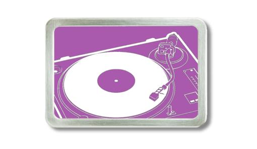 Gürtelschnalle mit Motiv Plattenspieler pink