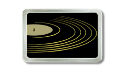 Gürtelschnalle mit Schallplatten Motiv