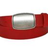 roter Ledrgürtel mit silberner Gürtelschnalle in 3 cm