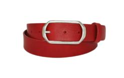 roter Lederguertel mit silberner Dornschnalle in 3 cm