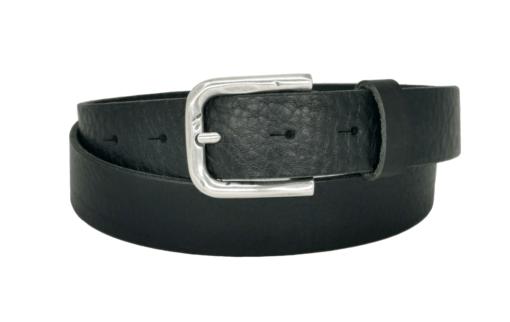 schwarzer Ledergürtel mit silberner Dornschnalle in 3 cm