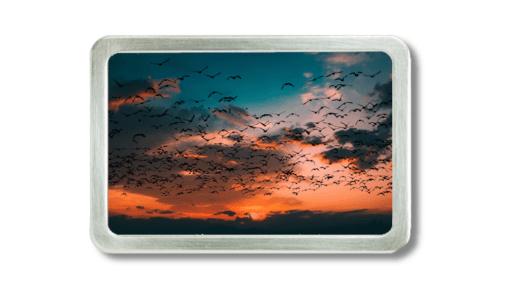 Gürtelschnalle mit Foto vom Abendhimmel